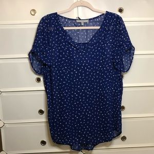 Daniel rainn • Blue/white Heart Print Blouse Sz L